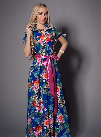 Длинное женское летнее платье с цветами, фото 2