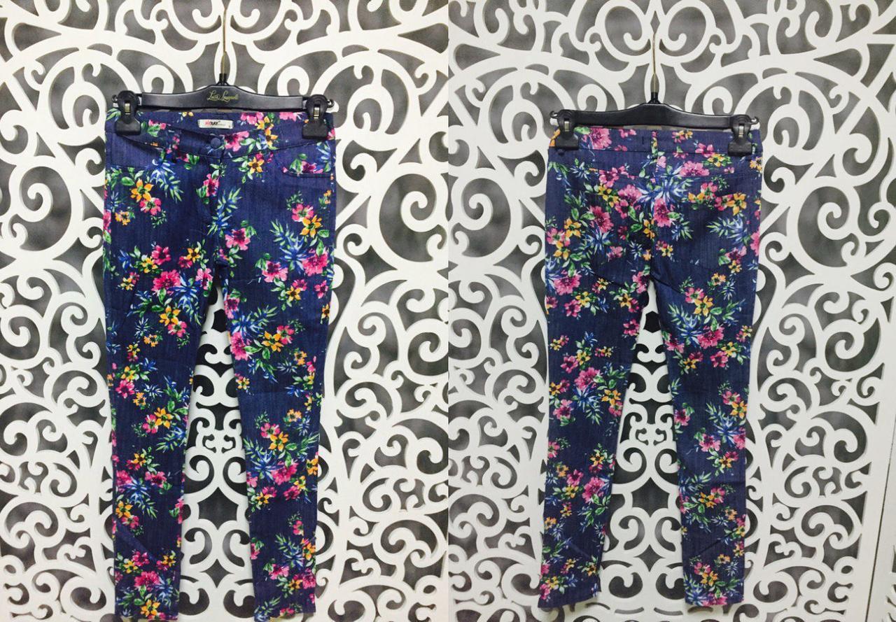 """Модные летние женские брючки с цветочным принтом ткань """"Хлопок+стрейч"""" 42 размер норма"""