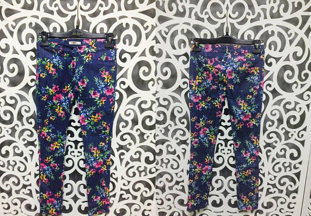 """Модные летние женские брючки с цветочным принтом ткань """"Хлопок+стрейч"""" 42 размер норма, фото 2"""