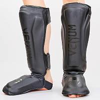 Защита для голени и стопы Муай Тай, ММА, Кикбоксинг VEN (PU, черно-серый, M-XL), фото 1