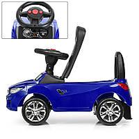 Толокар-каталка BMW на колесах с резиновым покрытием Bambi синий цвет. Дитяча машина толокар БМВ