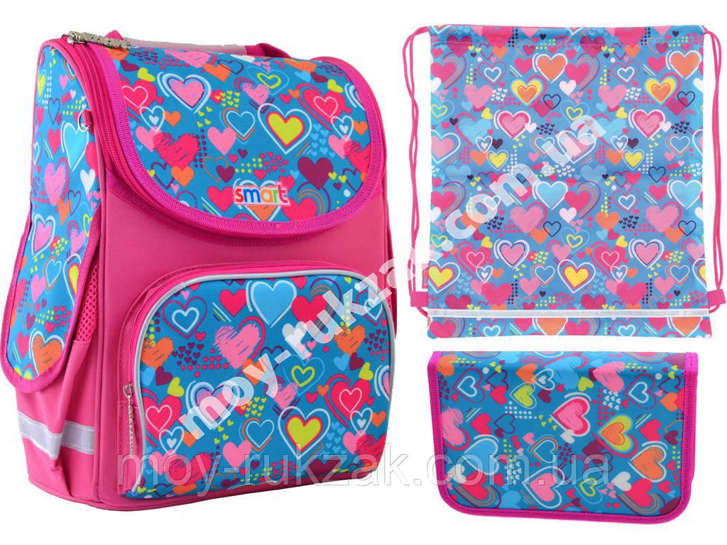 """Набор рюкзак ортопедический каркасный + сумка для обуви + пенал «Smart» PG-11 """"Charms"""" 555928-1"""