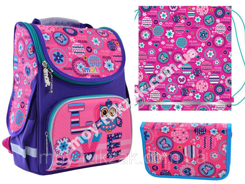 """Набор рюкзак ортопедический каркасный + сумка для обуви + пенал «Smart» PG-11 """"Bright fantasy"""" 555926-1"""