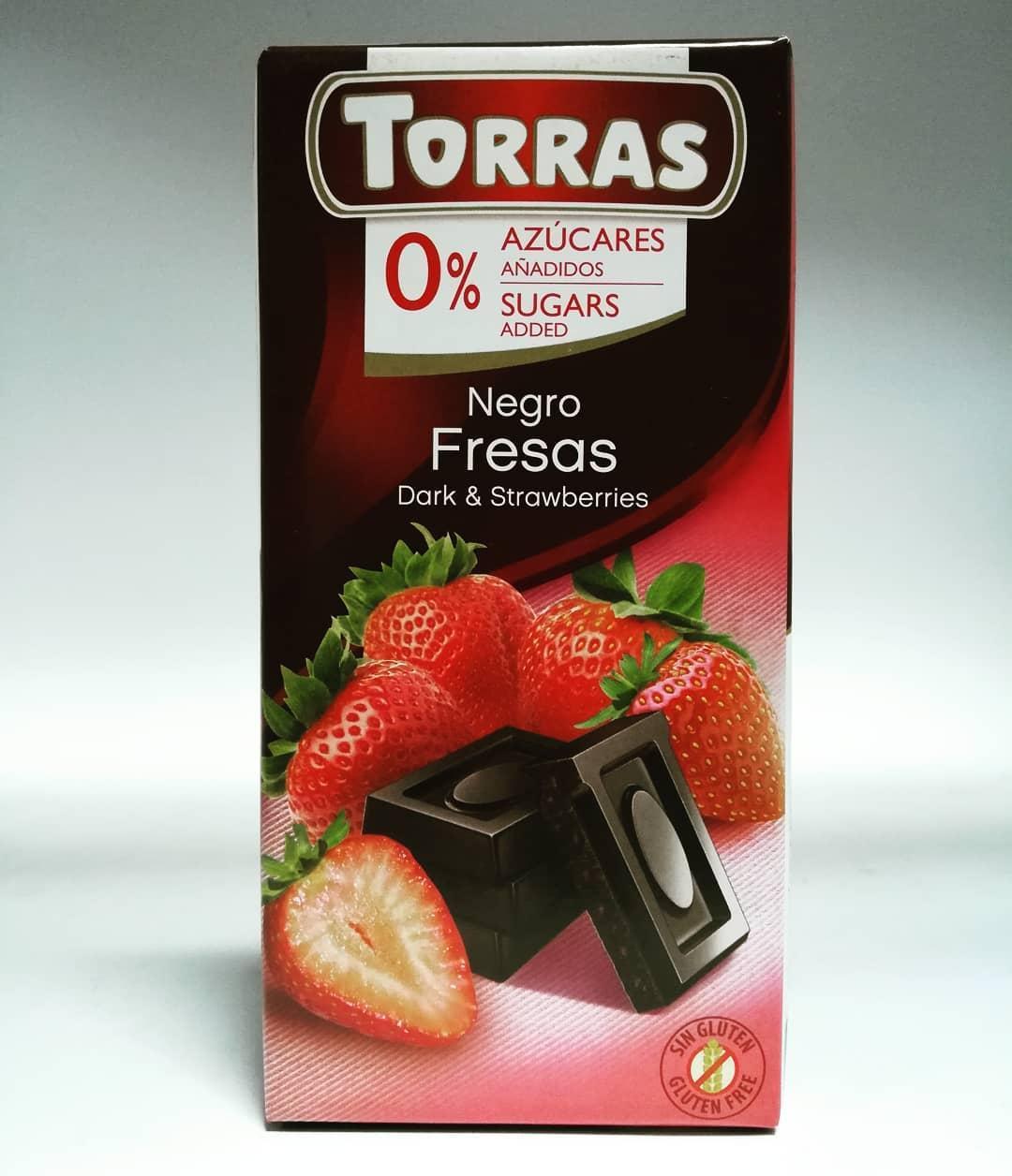 Шоколад черный без сахара Torras с кусочками клубники 75 г Испания