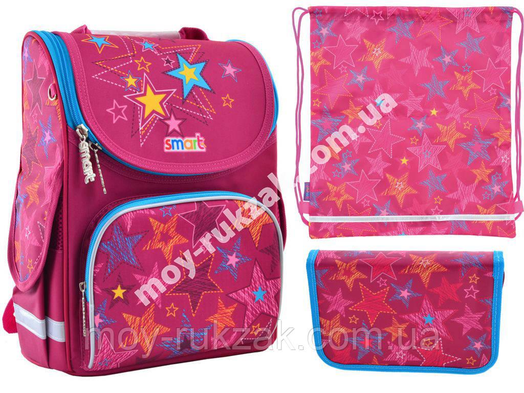 """Набор рюкзак ортопедический каркасный + сумка для обуви + пенал «Smart» PG-11 """"Star's dream"""" 555918-1"""