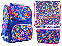 """Набор рюкзак ортопедический каркасный + сумка для обуви + пенал «Smart» PG-11 """"Butterfly dance"""" 555908-1"""