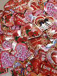 """Набор 100 штук открыток валентинок на стикерах """"Сердца-открытки"""", фото 3"""
