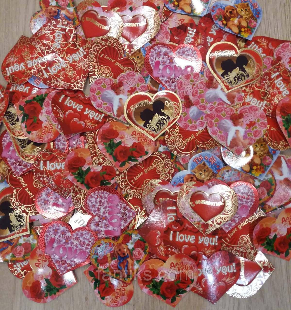 """Набор 100 штук открыток валентинок на стикерах """"Сердца-открытки"""""""