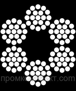 Трос 6мм. DIN 3060 (6x19) (оцинкованный W1) (бухта 100м.) APRO
