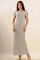 "Платье макси-длины ""Круиз-моно""серый меланж  100 % хлопок"