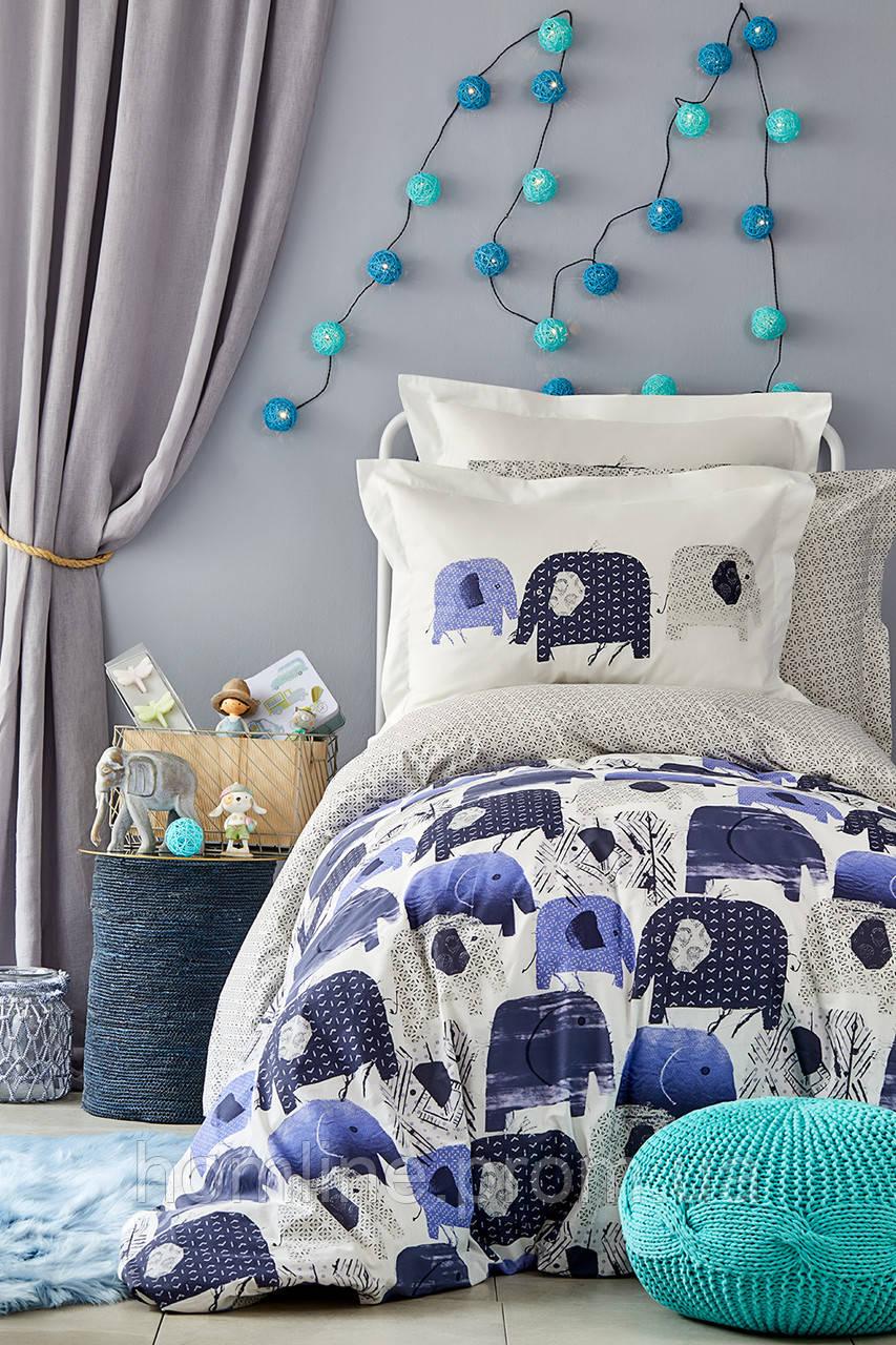 Детское постельное белье Karaca Home Ruben mavi 2019-2 голубой ранфорс подростковое