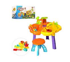 KM9808-1 Столик-песочница   62-38см,стульчик,ведерко,лейка,лопатка,грабли,формоч,в кор,51-33-21см