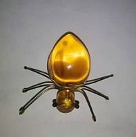 Брошь Паук натуральный янтарь плавленый вес 7г размер 50*50 мм, фото 1
