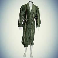 Мужской халат велюр-махра с воротником Greko Зеленый (L/XL)