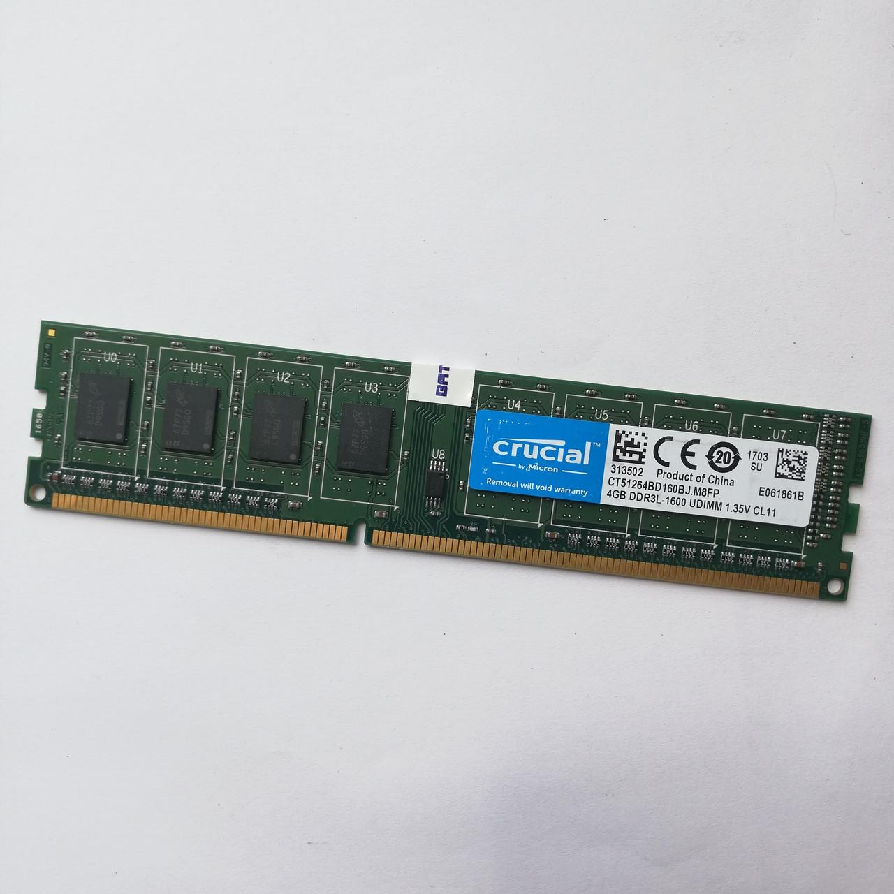 Оперативная память Crucial DDR3L 4Gb 1600MHz PC3L-12800 CL11 (CT51264BD160BJ.M8FP) Б/У