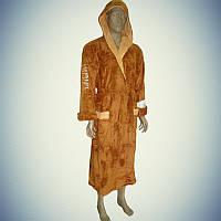 Мужской халат софт с капюшоном Goodnight America Коричневый (L/XL)