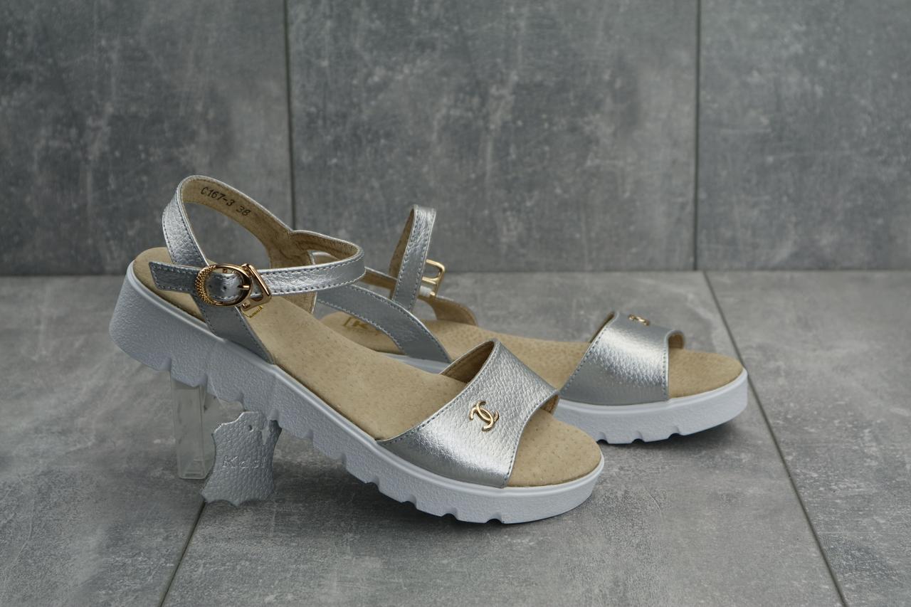 Кожаные женские босоножки практичные стильные молодежные в серебрянном цвете, ТОП-реплика
