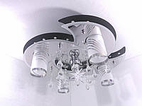 """Люстра потолочная """"Космос"""" с цветной LED подсветкой и автоматическим отключением с пультом (18х50х55 см.) Черный, хром YR-5235/4+1"""