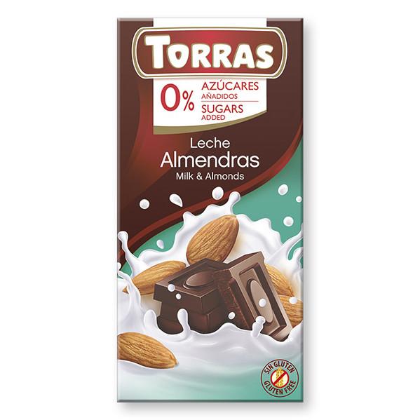 Шоколад без сахара Torras молочный с миндалем Испания 75г