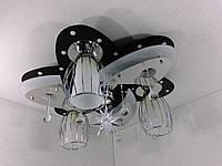 """Люстра потолочная """"Космос"""" с цветной LED подсветкой и автоматическим отключением с пультом (20х50х50 см.) Черный, хром YR-5520/3+1"""