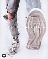 Кроссовки кеды мужские белые стильные South Draco. Натуральная замша