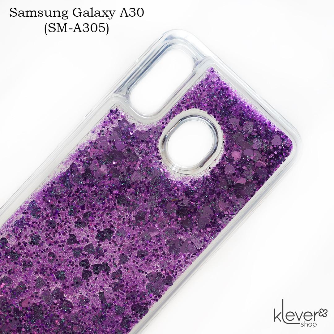 Чехол аквариум для Samsung Galaxy A30 (SM-A305) (сердечки и фиолетовые блестки)