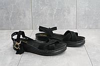 Женские босоножки замша практичные стильные удобные на платформе в черном цвете , фото 1