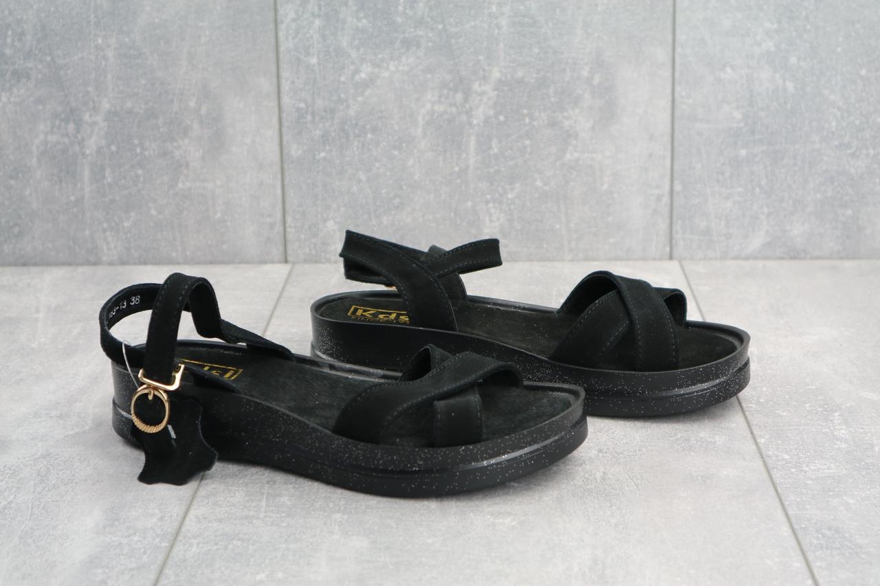 Женские босоножки замша практичные стильные удобные на платформе в черном цвете