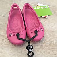 Балетки босоножки детские крокс оригинал розовые Crocs Kids´ Genna II Sparkle Band Slingbacks С9 стелька 16 см