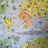 """Флизелиновые обои для детской комнаты""""Карта"""", голубые с желтым и зелёным,  Артекс 10078-01"""