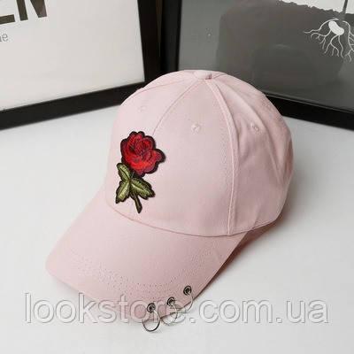 Женская летняя кепка с Розой розовая