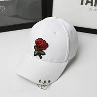 Женская летняя кепка с Розой белая