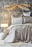 Набор постельное белье с покрывалом + плед Karaca Home Ennea gold 2019-2 золотой евро размер