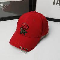 Женская летняя кепка с Розой красная