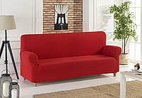 Универсальный чехол на диван красного цвета