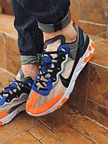 "Кроссовки Nike Undercover React Element ""Синие\Оранжевые"", фото 3"