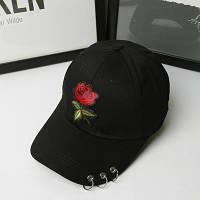 Женская летняя кепка с Розой черная