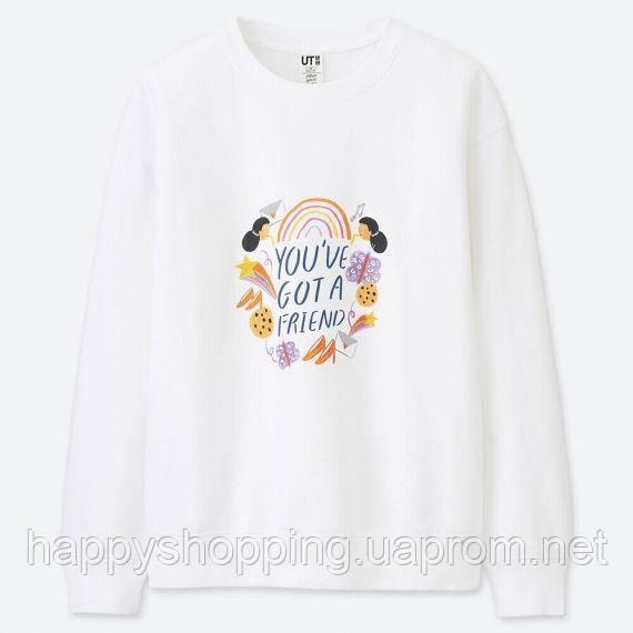 Женский стильный белый свитшот с принтом Uniqlo