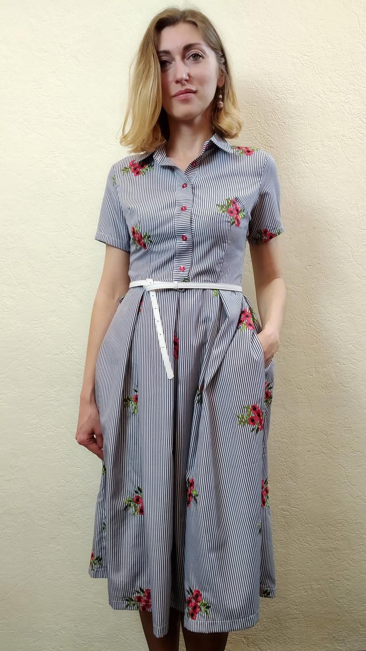 Летнее вышитое платье миди в полоску с карманами П208