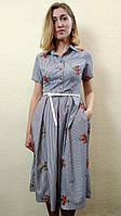 Летнее вышитое платье миди в полоску с карманами П208, фото 1