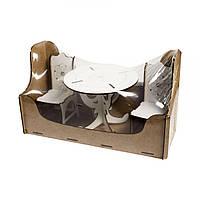 Деревянная мебель для куклы и кукольного домика Стол круглый и два стула для барби, Украина