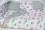 """Комплект постельного белья с бортиками и балдахином """"Цветные совушки"""" , фото 4"""