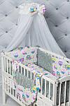 """Комплект постельного белья с бортиками и балдахином """"Цветные совушки"""" , фото 5"""