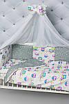 """Комплект постельного белья с бортиками и балдахином """"Цветные совушки"""" , фото 6"""