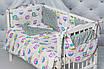 """Комплект постельного белья с бортиками и балдахином для младенца в кроватку  """"Цветные совушки"""", фото 7"""