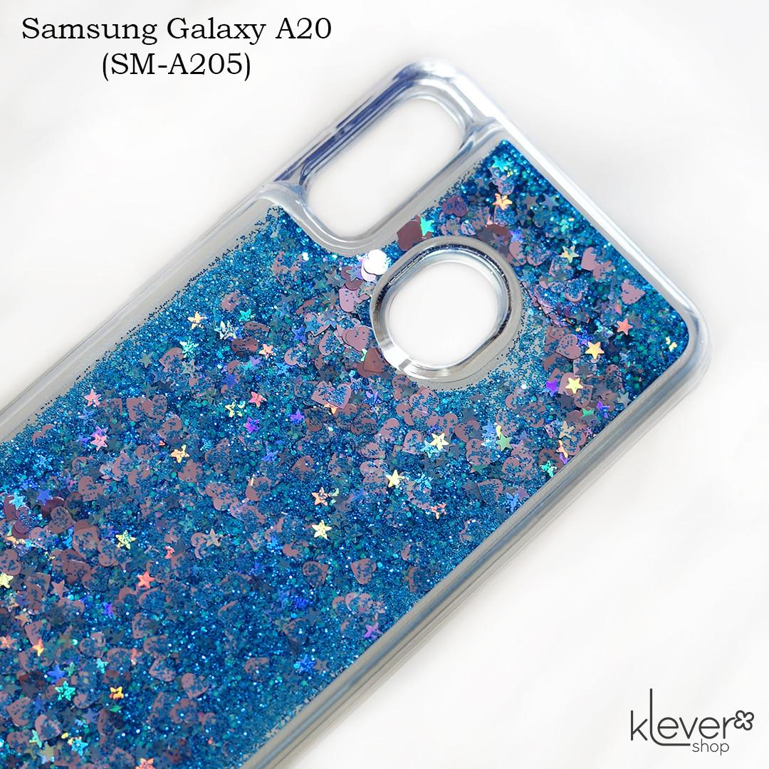 Чехол аквариум для Samsung Galaxy A20 (SM-A205) (сердечки и синие блестки)