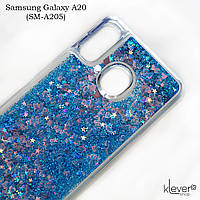 Чехол аквариум для Samsung Galaxy A20 (SM-A205) (сердечки и синие блестки), фото 1