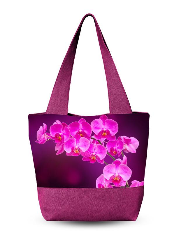 Сумка летняя с принтом орхидеей.