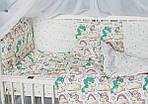 """Комплект постельного белья с бортиками и балдахином для малыша в кроватку"""" Сказочный единорог"""" желтого цвета, фото 3"""