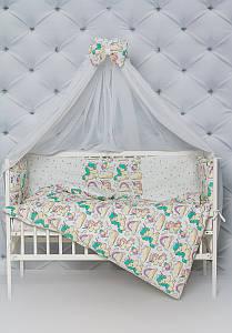 """Комплект постельного белья с бортиками и балдахином для малыша в кроватку"""" Сказочный единорог"""" желтого цвета"""